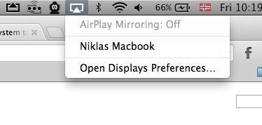 Macbook Proen dukker opp som en Airplay-mottaker så fort AirServer er installert. .