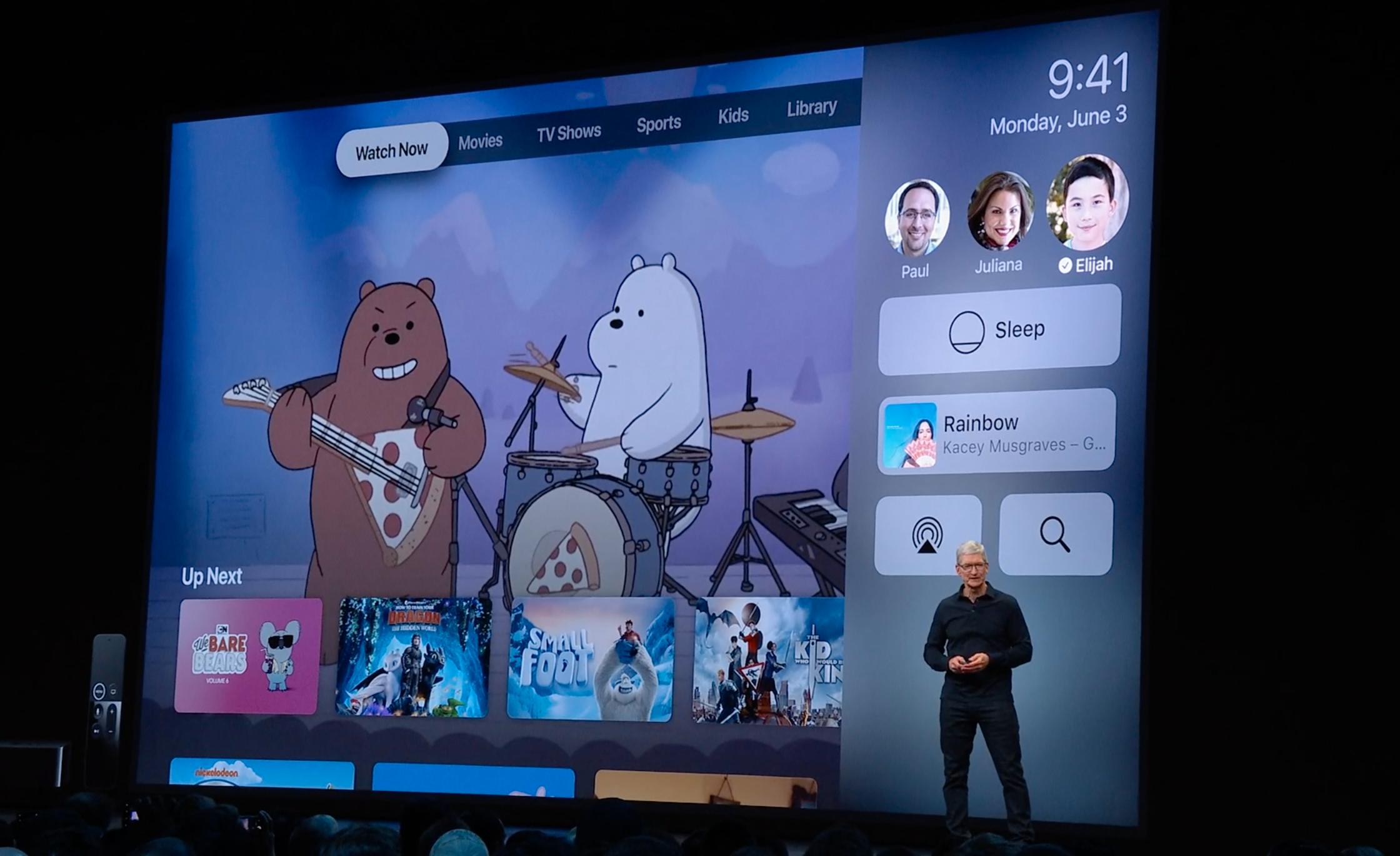 Apple TV får flerbrukerstøtte, så du får tilpasset innhold basert på hvem som er logget inn. Du kan bytte brukere på siden.