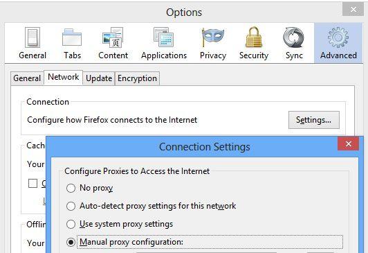 I Firefox skal du til dette vinduet for å stille inn proxy.
