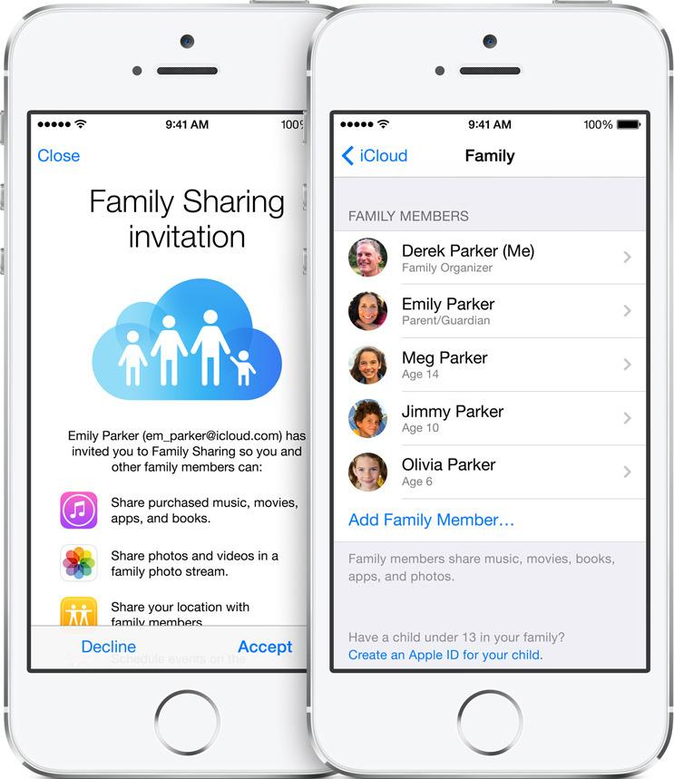 Nesten alt ved kveldens lansering var fokusert på å koble sammen enheter på den ene eller den andre måten. Familiegruppen som deler bilder og apper var en av disse.Foto: Apple