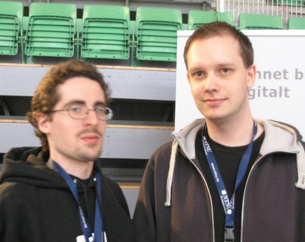 Marcin de Kaminski og Peter Sunde under The Gathering 2007.Foto: Jørgen Elton Nilsen, Hardware.no