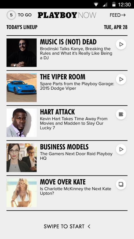 I Playboy Now får du en kjapp oversikt over dagens viktigste nyheter. Foto: Playboy