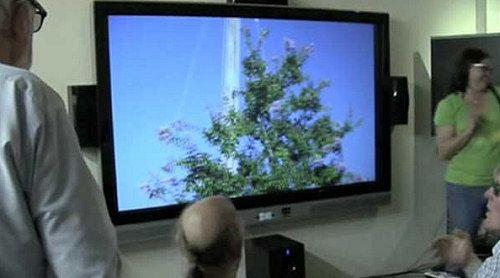 Fra demonstrasjonen av HDIs 100-tommers 3D-laser-TV (Foto: abclocal.go.com)