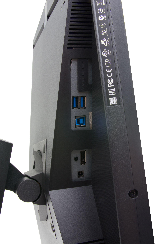 DisplayPort er eneste videoinngang, men det er også en USB 3.0-hub med to utganger å finne på undersiden.