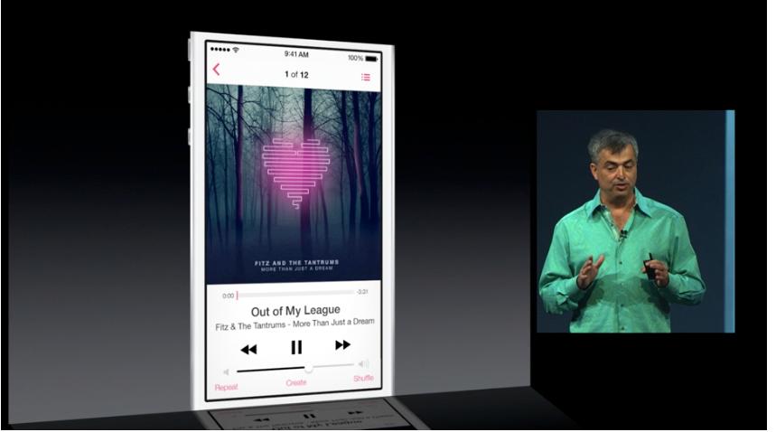 En helt ny musikk-app er lagt inn i iOS 7. Den er tettere integrert med iCloud og iTunes.