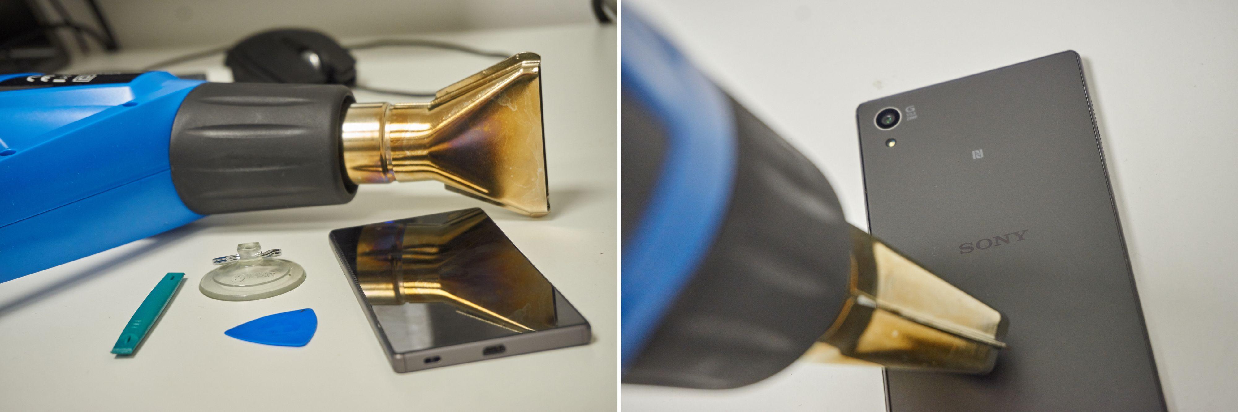 Her er utstyret vi brukte for å skille glass og ramme.