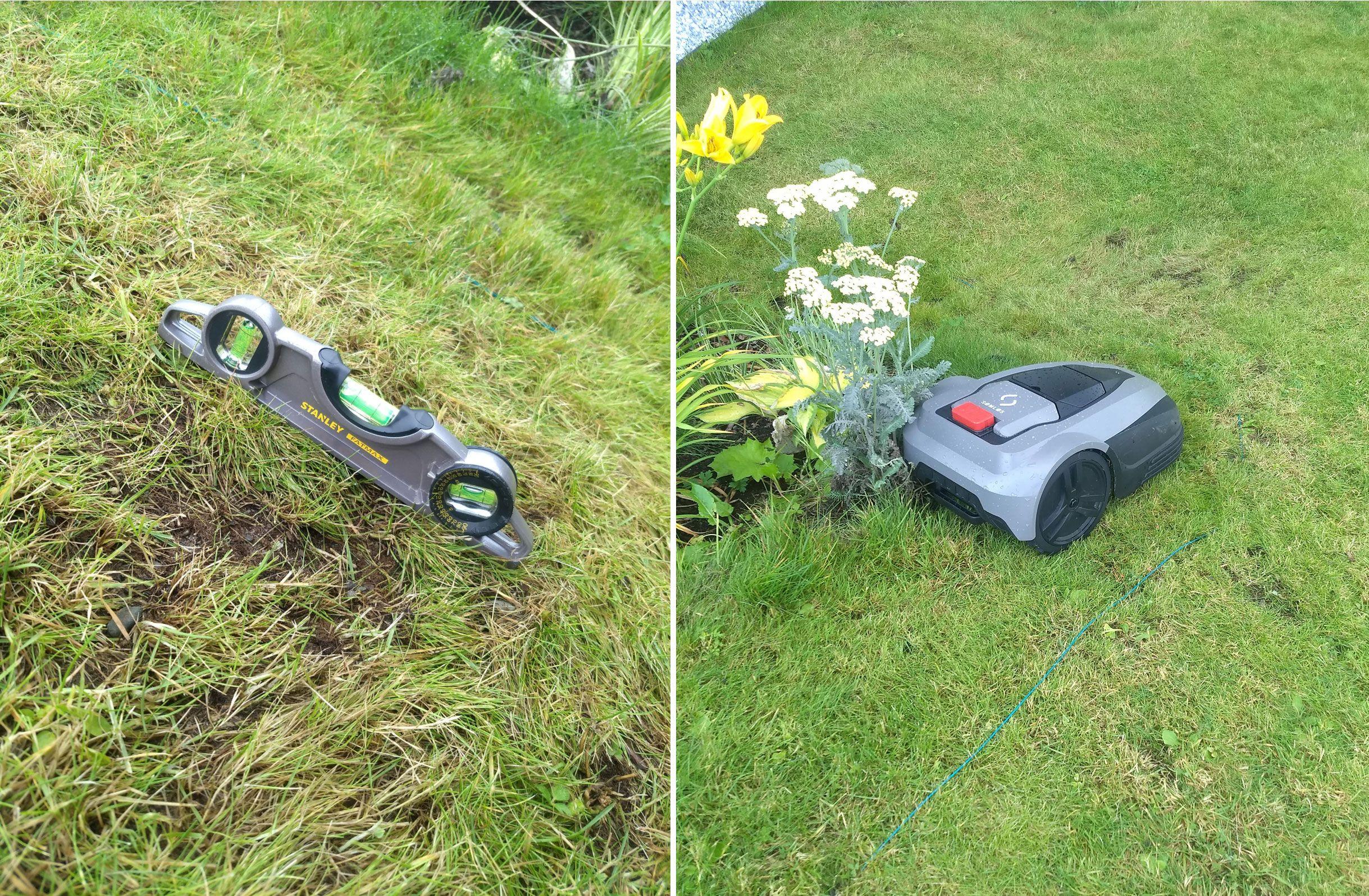 Terje Klungervik har sjekket med vater at bakken i hagen er innenfor det Sømløs hevder at G1 skal takle. Likevel opplever han stadig vekk at klipperen ikke klarer å klippe gresset skikkelig.