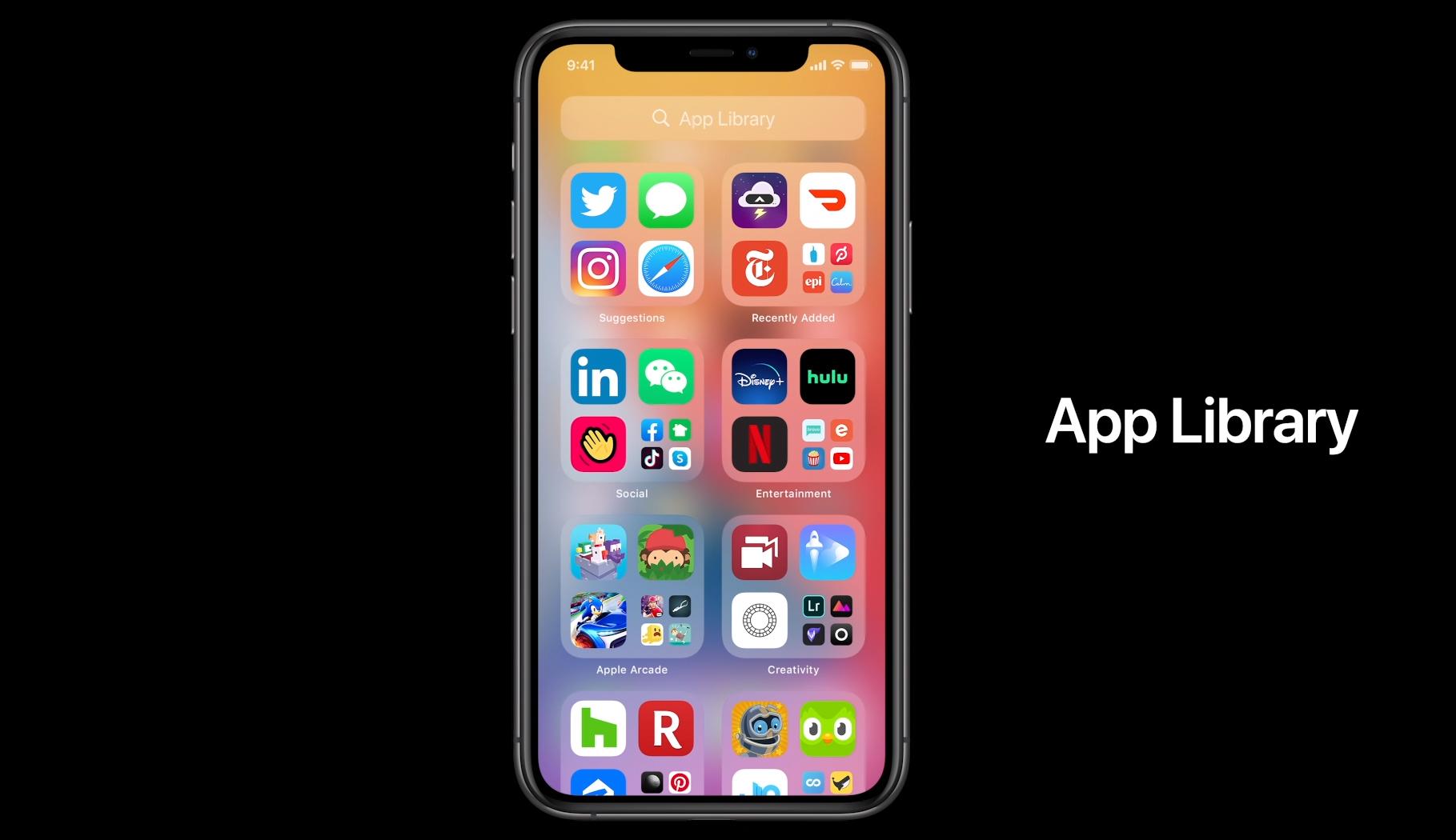 Slik ser App Library ut - en totaloversikt over alle appene du har på mobilen din.