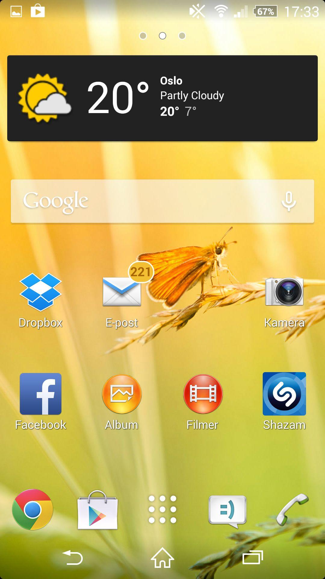 Hjemmeskjermen på Xperia Z2 ser ut omtrent slik vi er vant til på Android.Foto: Finn Jarle Kvalheim, Amobil.no
