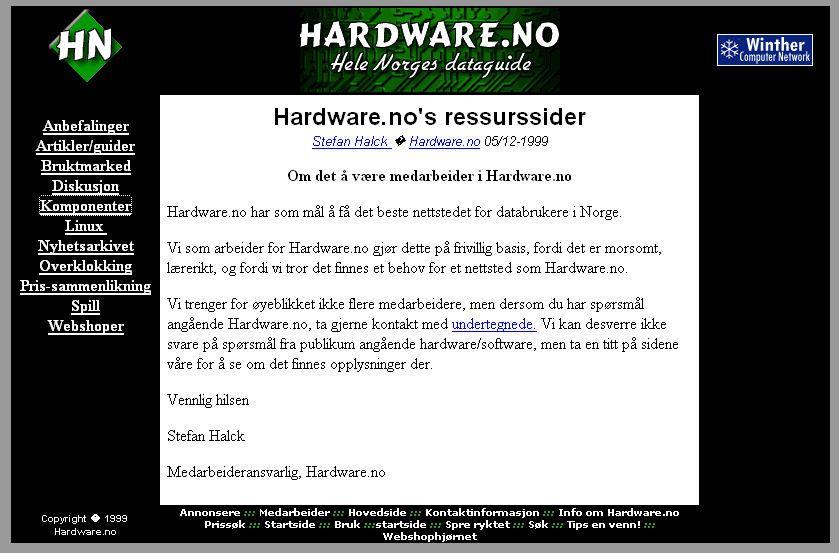 Slik så Hardware ut i 1999.