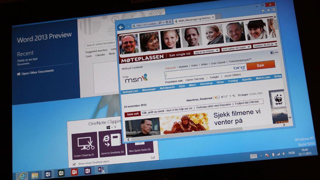 Slik ser desktopen ut, som en vanlig PC.Foto: Espen Irwing Swang, Amobil.no