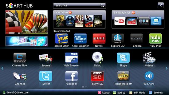 TV-apper i Samsungs Smart Hub.Foto: Samsung