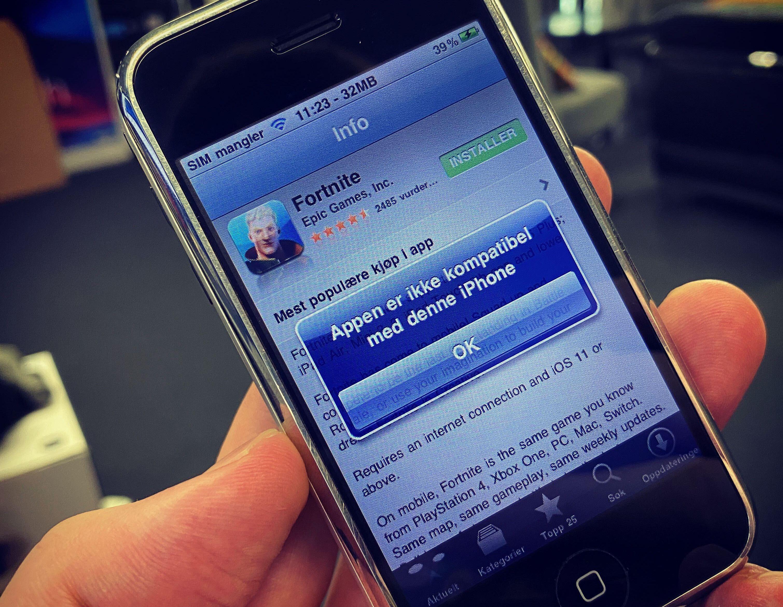 Originale iPhoner kan være svært dyre på eBay, men de kjører ikke Fortnite. Uansett om spillet er i App Store eller ikke.