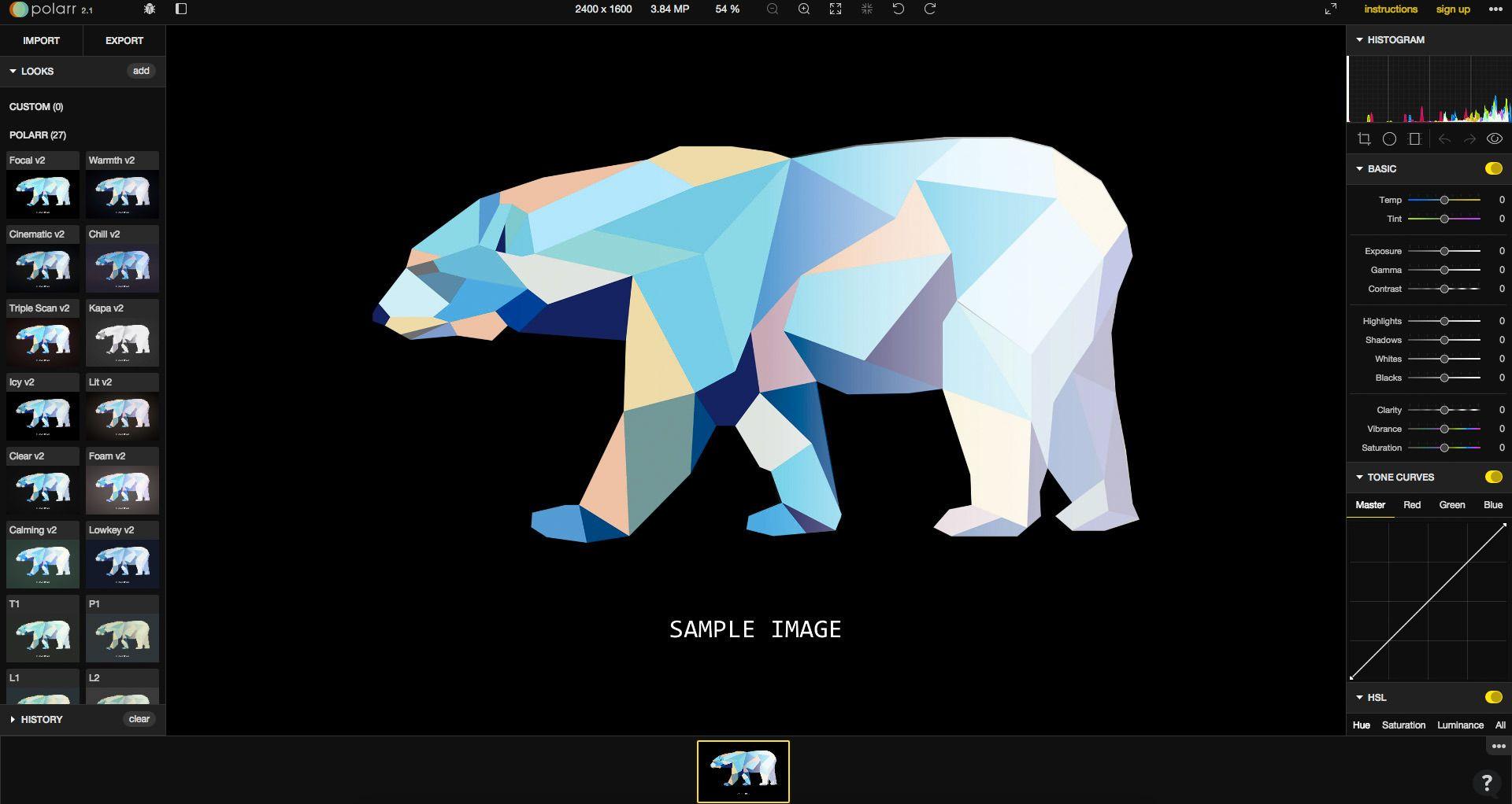 Polarr er en ganske avansert web-app for bilderedigering, og en av få web-baserte løsninger som støtter raw-format.