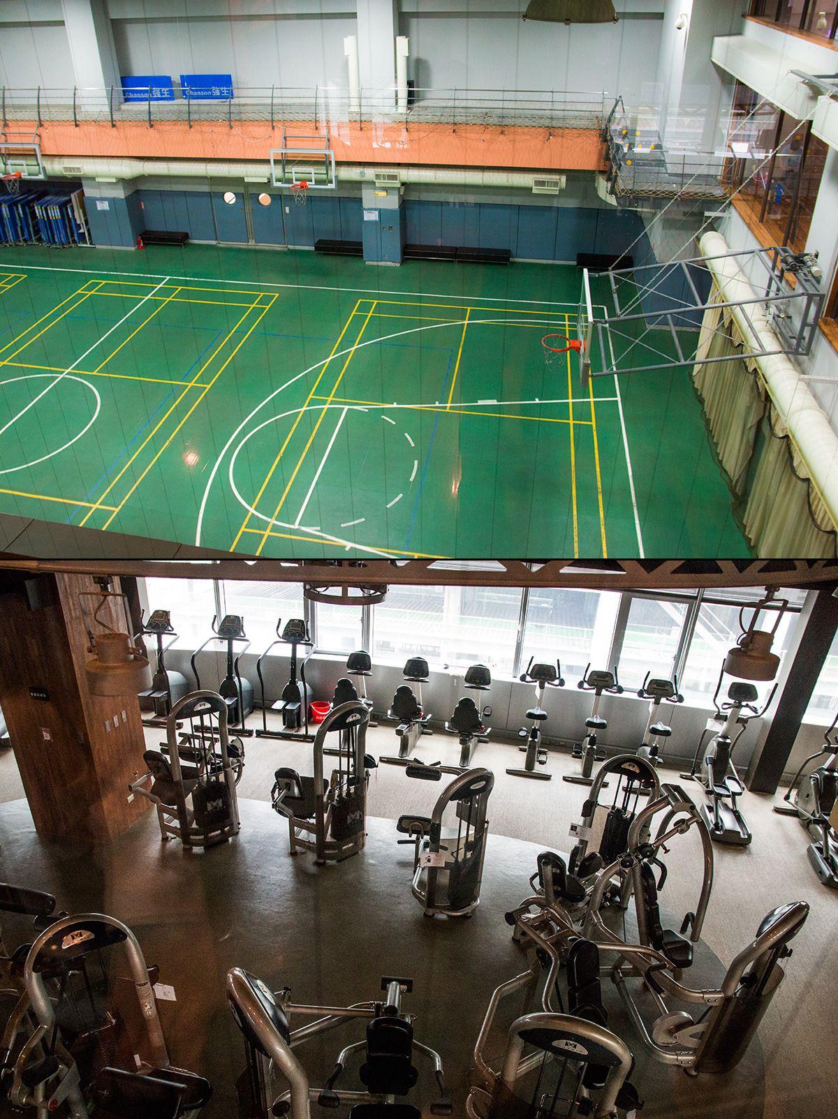 Like innenfor lobbyen, og rett under kantina, finner vi et digert treningsanlegg komplett med en basketballbane i full størrelse. Når de ansatte er ferdige å trene kan de besøke bygningens egen Starbucks-kafé..Foto: Varg Aamo, Hardware.no