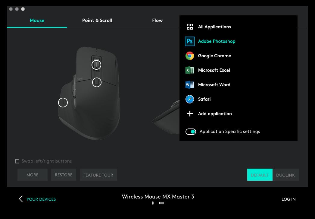 Funksjonstastene på MX Master 3 kan gis unike funksjoner i flere kjente programmer.