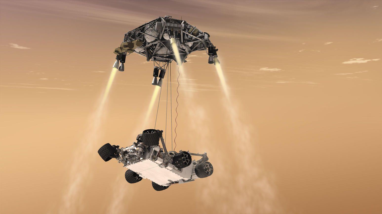 Omtrent slik skal det se ut når roveren lander på Mars, og hele prosessen skal filmes med opptil flere kameraer.