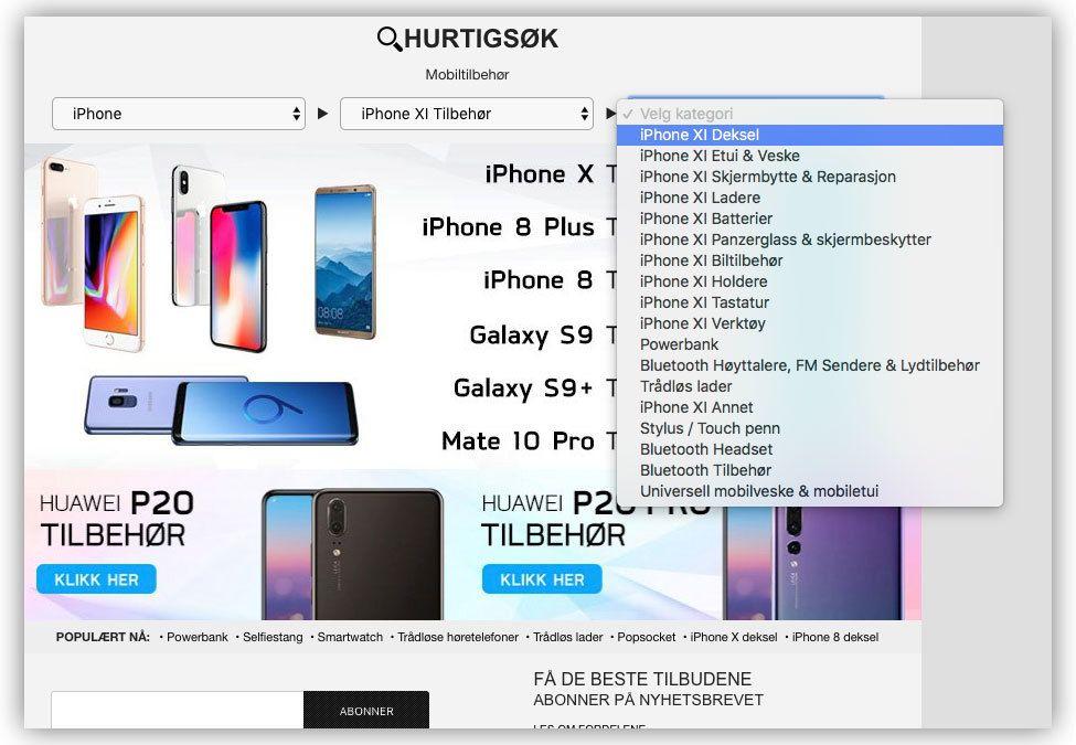 Skjermdump fra Mytrendyphone, hvor de blant annet har listet opp iPhone XI i produktlisten sin.