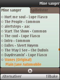 Det er ingen musikkbibliotek på Symbian-versjonen.