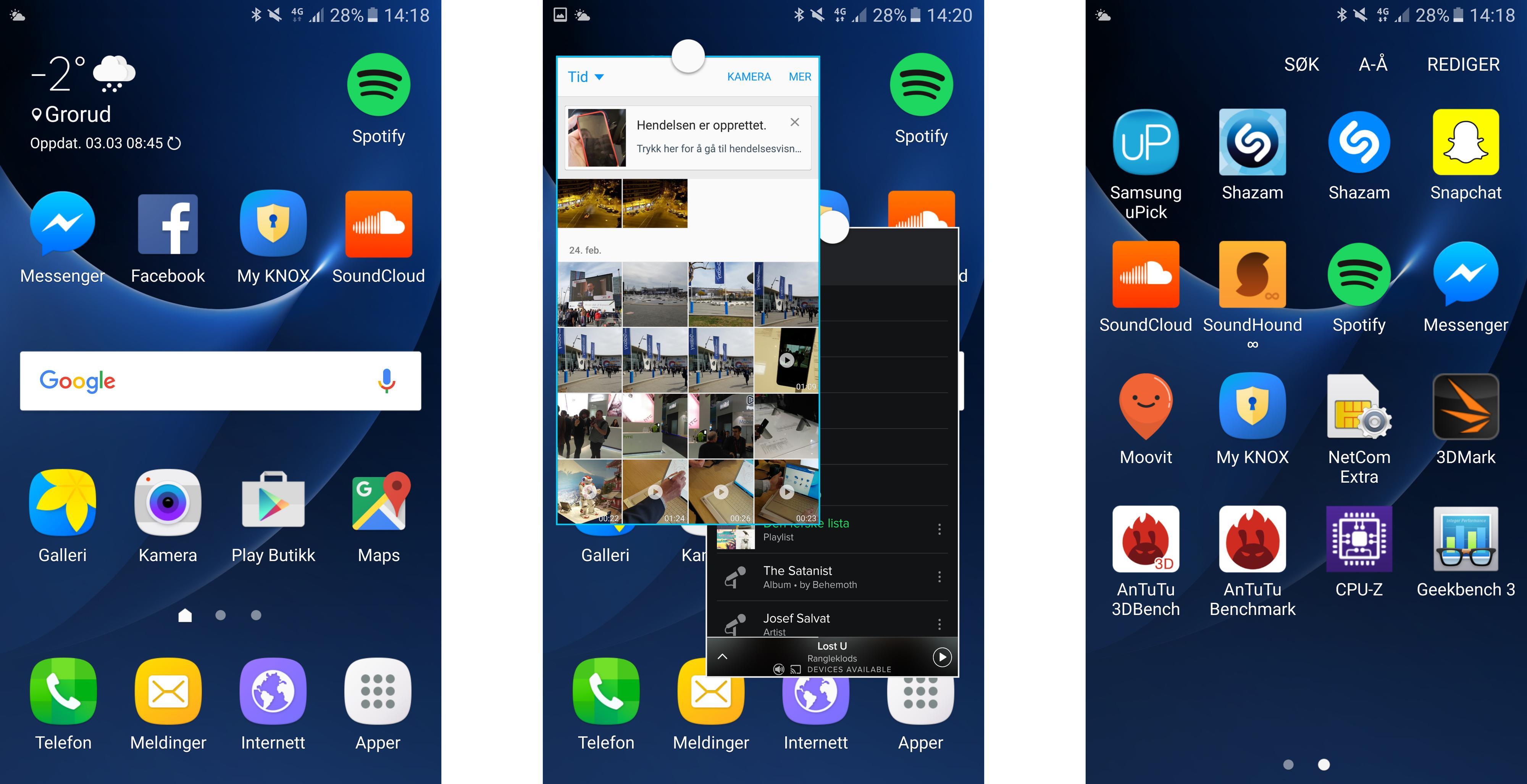 Touch Wiz-menyene har blitt meget gode, og det samme har multitaskingen Samsung har bygget inn. Appmenyen bak var forholdsvis ryddig til vi la til store mengder skrot helt selv.
