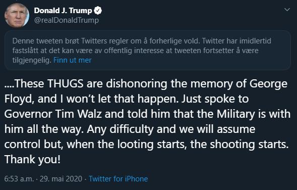 Slik merket Twitter Trumps innlegg.