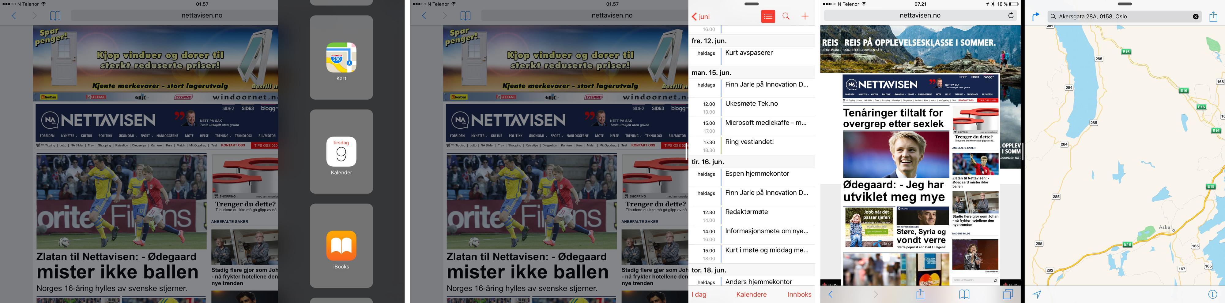 På bildene til venstre og i midten ser du den såkalte Slide Over-funksjonaliteten. Den blir tilgjengelig på alle iPader, mens Split View som du ser helt til høyre er forbeholdt toppmodellen iPad Air 2. Foto: Finn Jarle Kvalheim, Tek.no