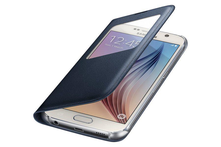 Samsungs egne S View-deksler er tynnere og stiligere å se på – og beskytter skjermen. Men dekselet gir neppe like god beskyttelse mot fall som Otterbox-dekselet. Foto: Samsung