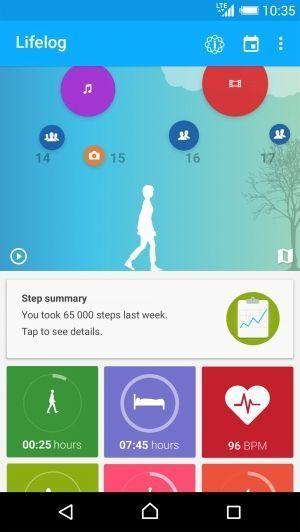 Via Lifelog-appen kan du følge med på aktiviteter, puls og søvn.