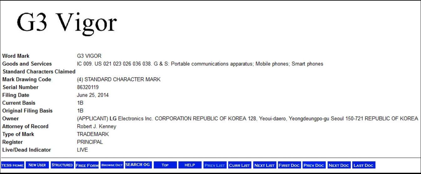 Skjermdump fra det amerikanske patentkontorets nettsted, som lister ett av navnene LG har søkt varemerkebeskyttelse for.