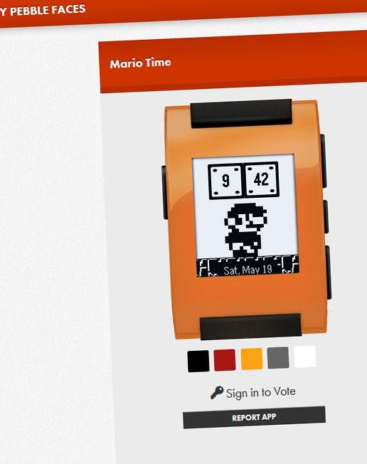 Urskivene kan se voldsomt forskjellige ut - her er det Super Mario som holder orden på tiden.Foto: Skjermdump, Mypebblefaces.com