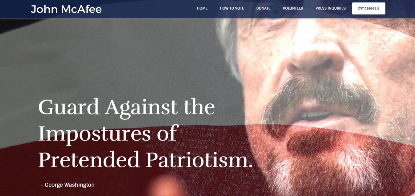 Slik ser McAfees nye presidentkandidat-nettside ut. Foto: mcafee16.com