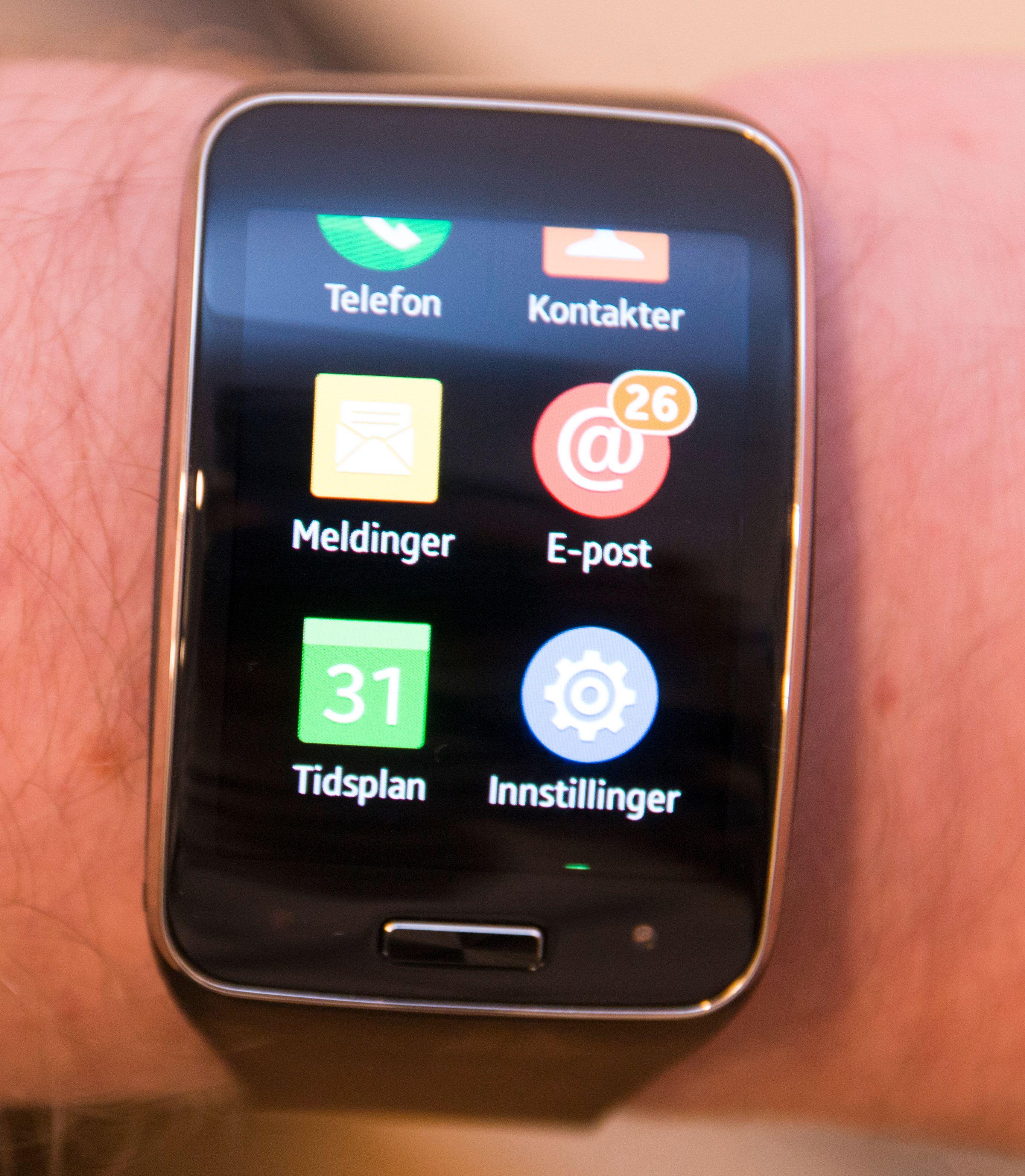 App-menyen på Gear S ser ut som et lite utsnitt at Samsungs vanlige Touch Wiz-menyer.Foto: Kurt Lekanger, Tek.no
