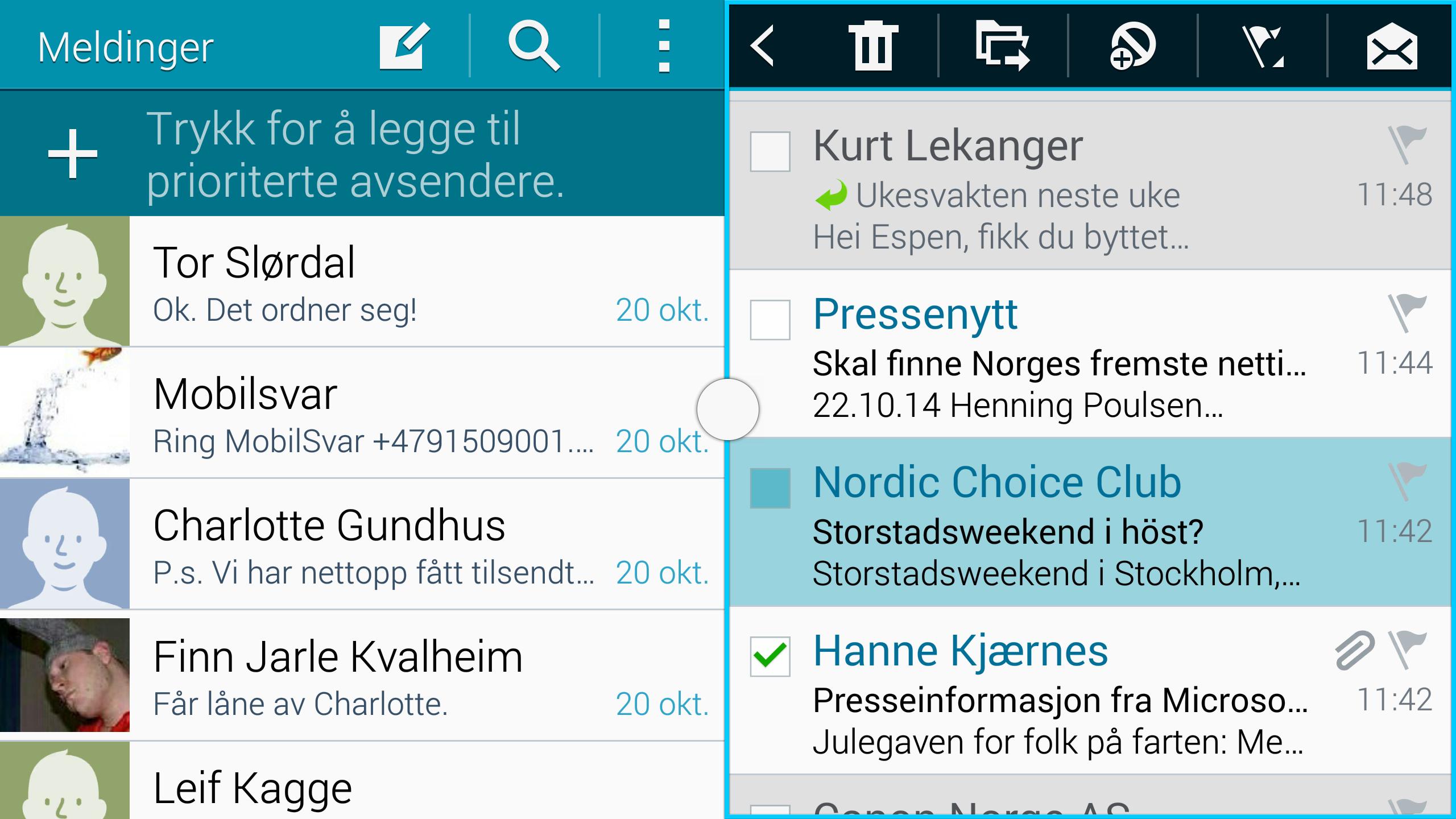 Her er skjermen delt mellom SMS og e-post.