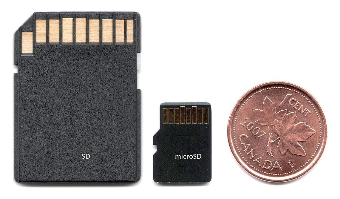 SD-kort til venstre, microSD i midten.