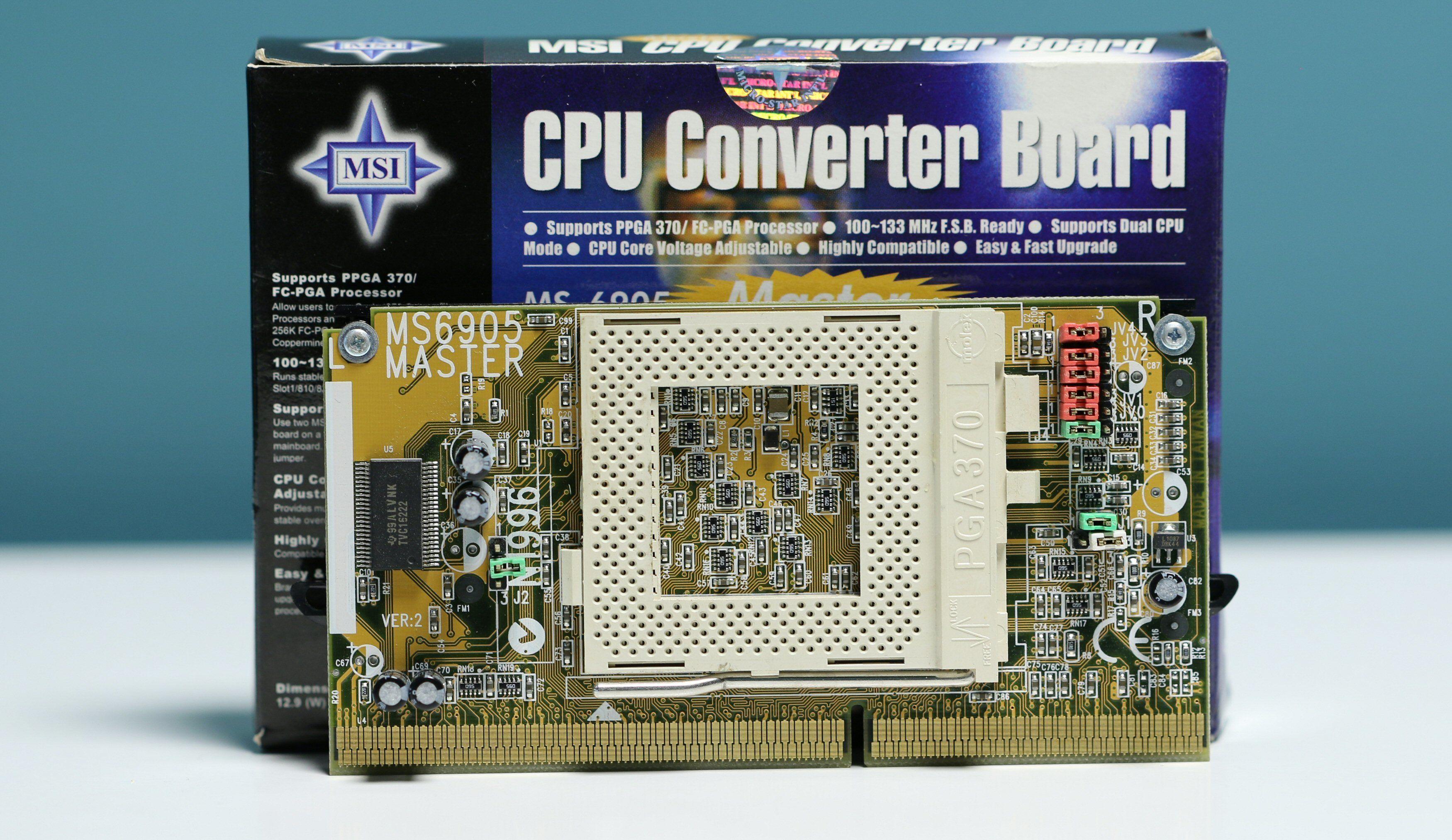 En «slotket» var lagd for å kunne bruke en Socket 370-prosessor på et hovedkort med Slot 1 prosessorkontakt.