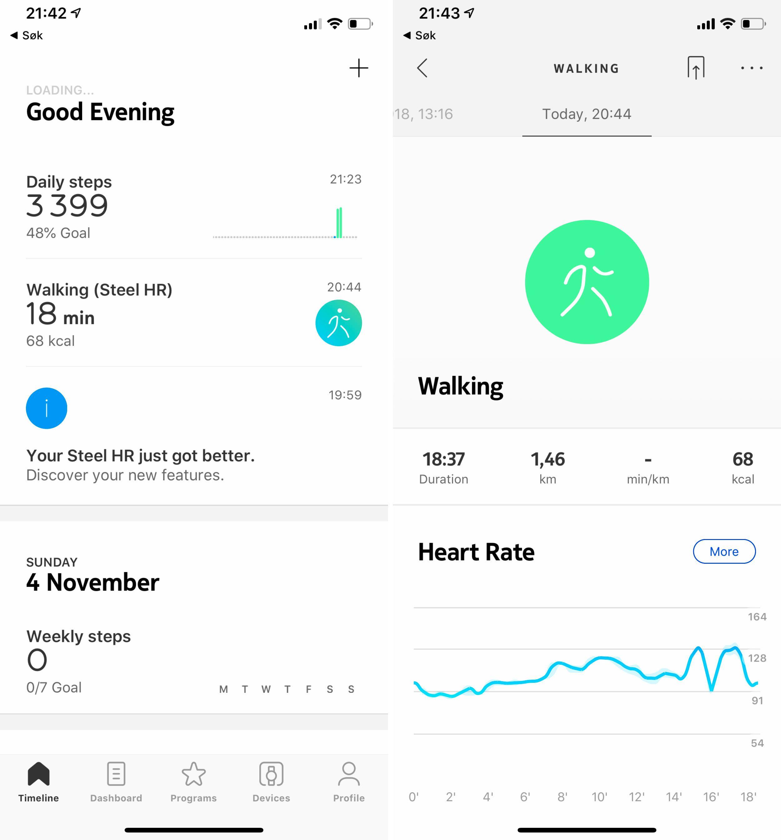 Withings-appen har masse innhold både for aktivitetssporing og søvnkvalitet. I det store og hele fungerer klokken svært bra, og det samme kan sies om appen. Det kan være litt forvirrende at den har byttet navn to ganger på ganske kort tid. Nokia Steel HR og Withings Steel HR er samme produkt.