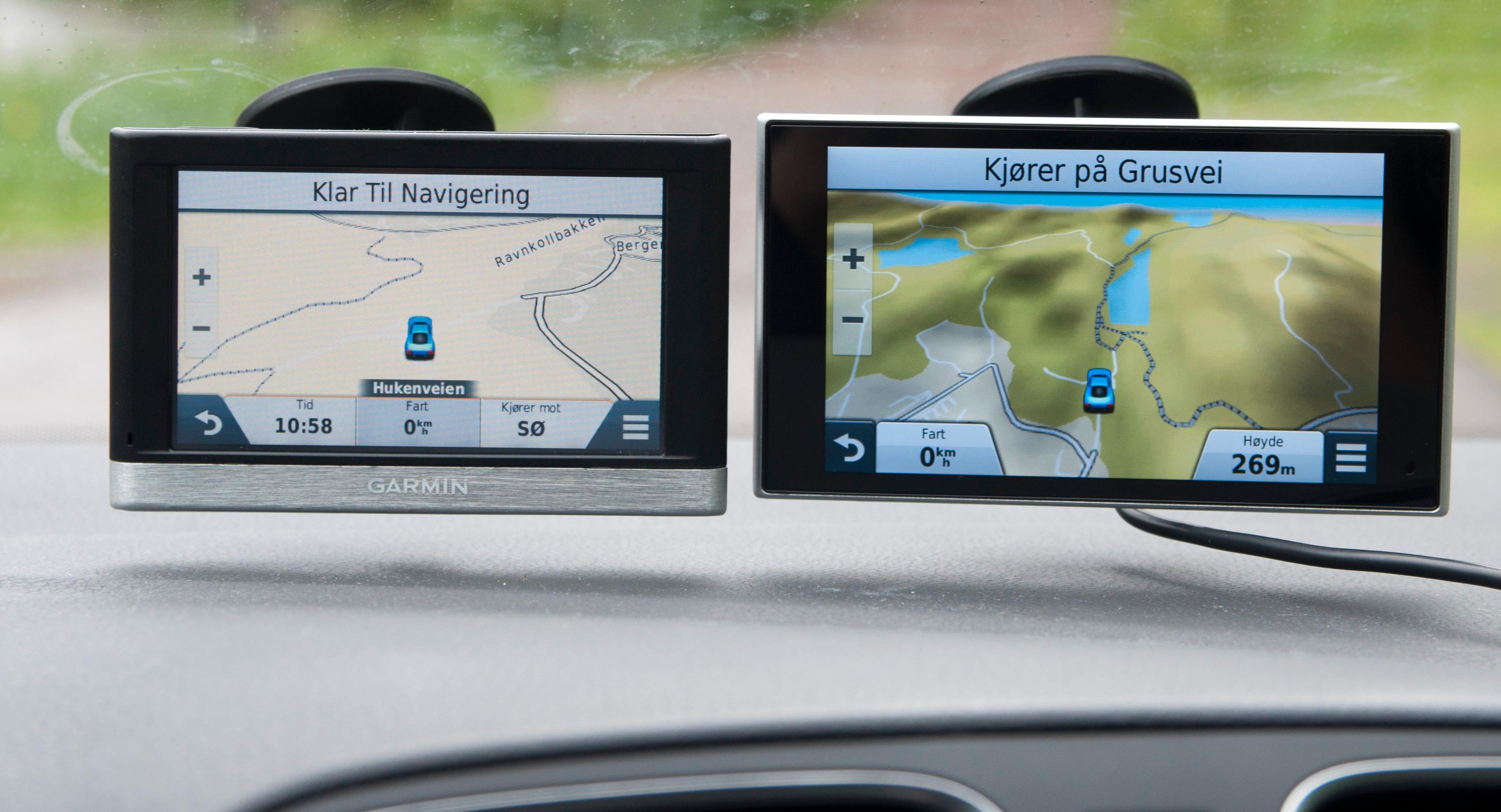 Det er stor forskjell i skjermkvalitet fra toppmodellen og ned til Nüvi 2497 LMT. Begge oppleves likevel som helt tilstrekkelige i de fleste situasjoner. Her og der ser vi små forskjeller, som fargen på skogen i de to kartene.Foto: Finn Jarle Kvalheim, Amobil.no