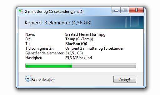 Det kan ta sin tid med USB 2.0...