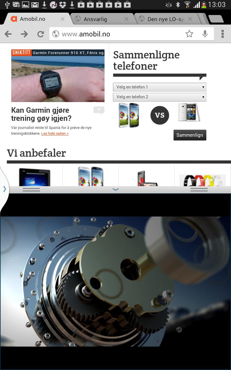 Skjermen kan vise to aktive apper samtidig.