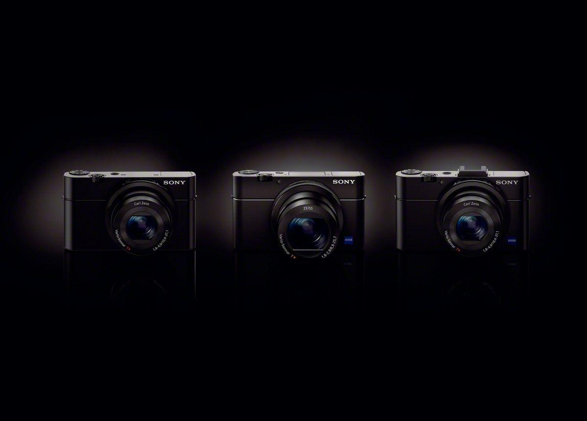 Eplet faller ikke langt fra stammen. Fra venstre: RX100, RX100 III og RX100 II. (Foto: Sony)