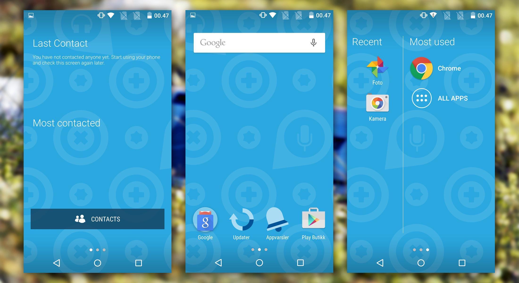 Slik ser de tre startskjermene på Fairphone 2 ut. Til venstre finner du sist brukte kontakter, i midten en vanlig hjemskjerm og til høyre de sist brukte appene og appmenyen. Utenom disse små finessene er det helt ren Android som kjører på telefonen.