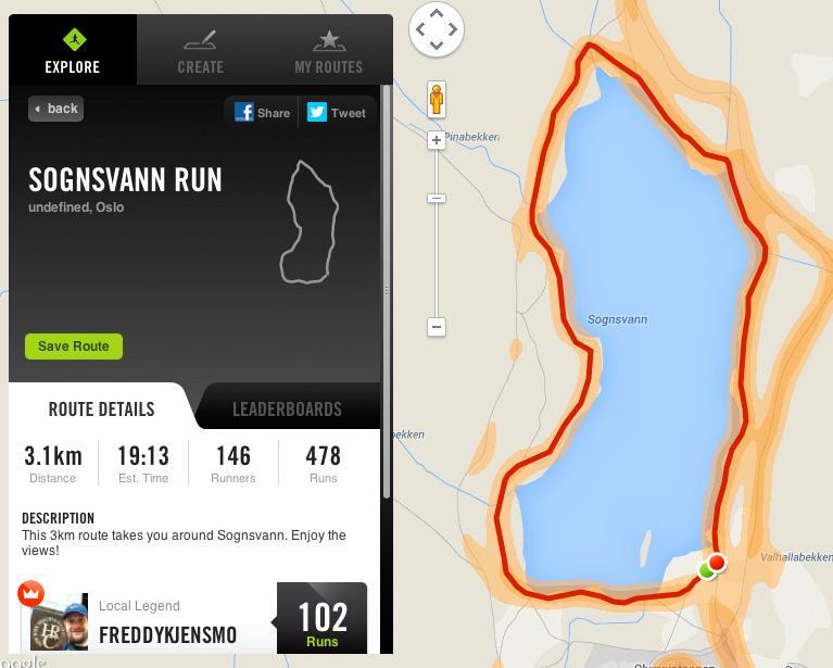 På Nikes nettsider kan du konkurrere om å løpe en bestemt løype raskest.