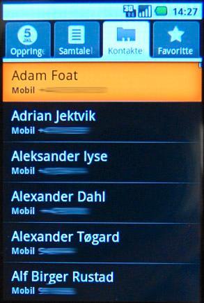 Adresseboken i Android-baserte telefoner.