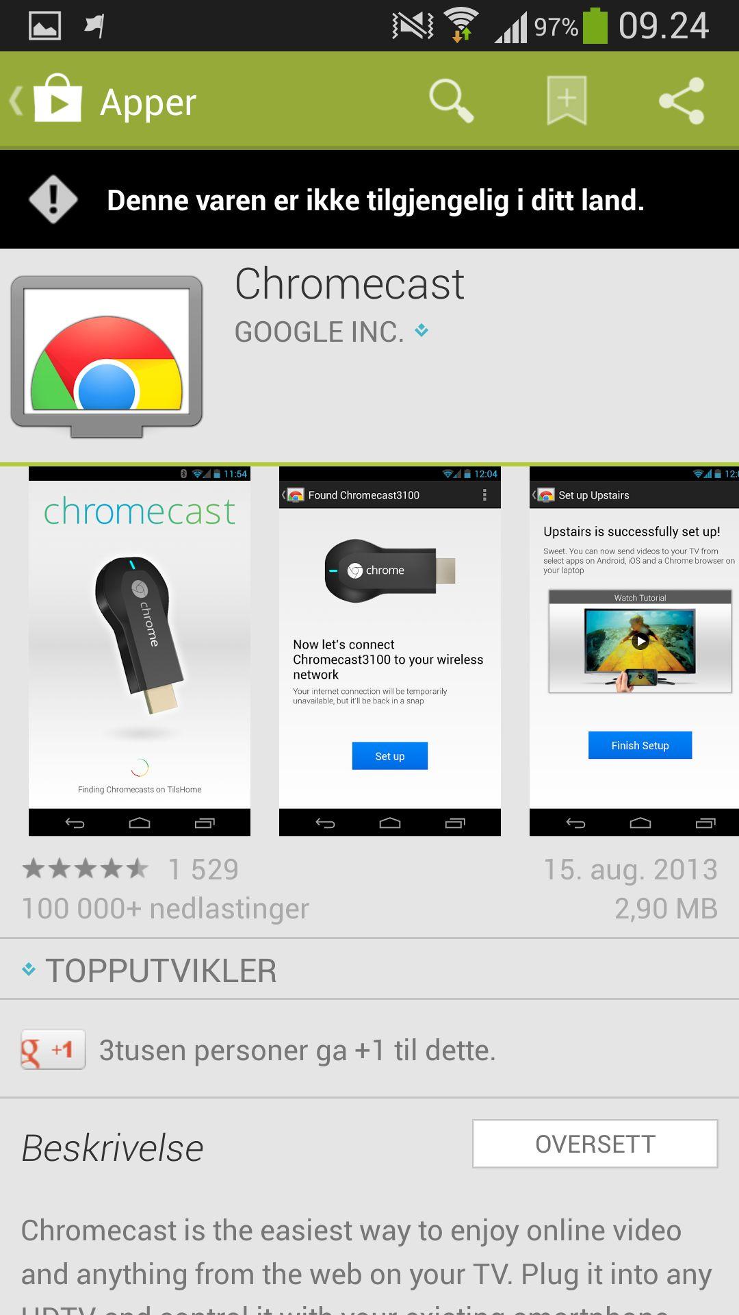Det første oppsettet må gjøres fra PC, siden Chromecast-appen ikke er tilgjengelig i norske Google Play.