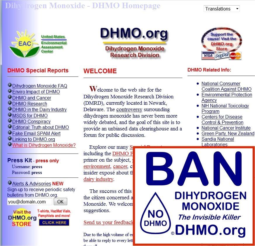 DHMO.org har store mengder informasjon om dihydrogenmonoksid på sidene sine. Du kan også få kjøpt en t-skjorte (nede t h) for å støtte arbeidet deres.