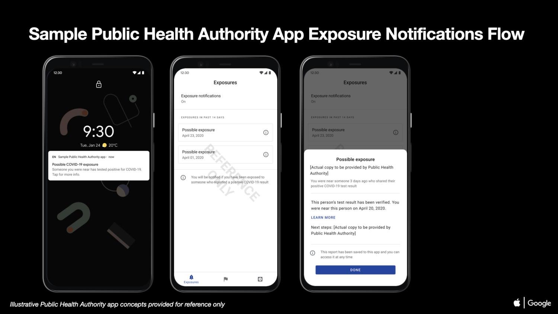 Apple og Google viser hvordan en smitteapp kan se ut