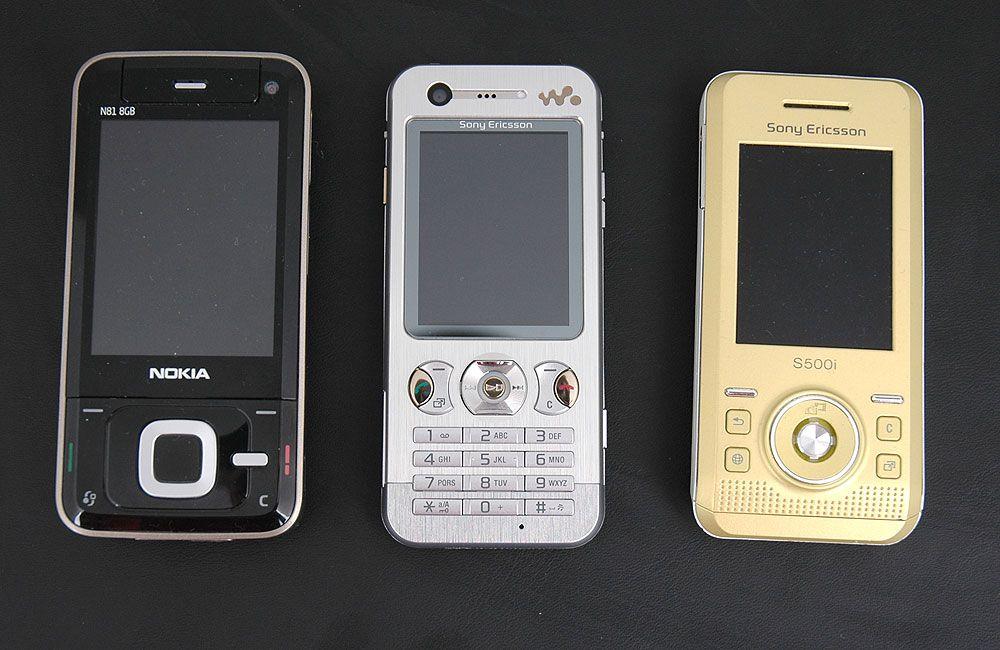 Sammenlignet med Nokia N81 (t.v.) og Sony Ericsson S500i er ikke W890i store karen.