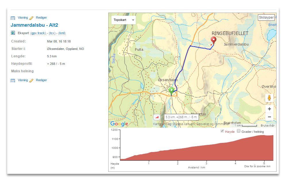 Det er kortere å gå til Jammerdalsbu, men jeg kommer til å laste ruta inn på GPS-klokka uansett.