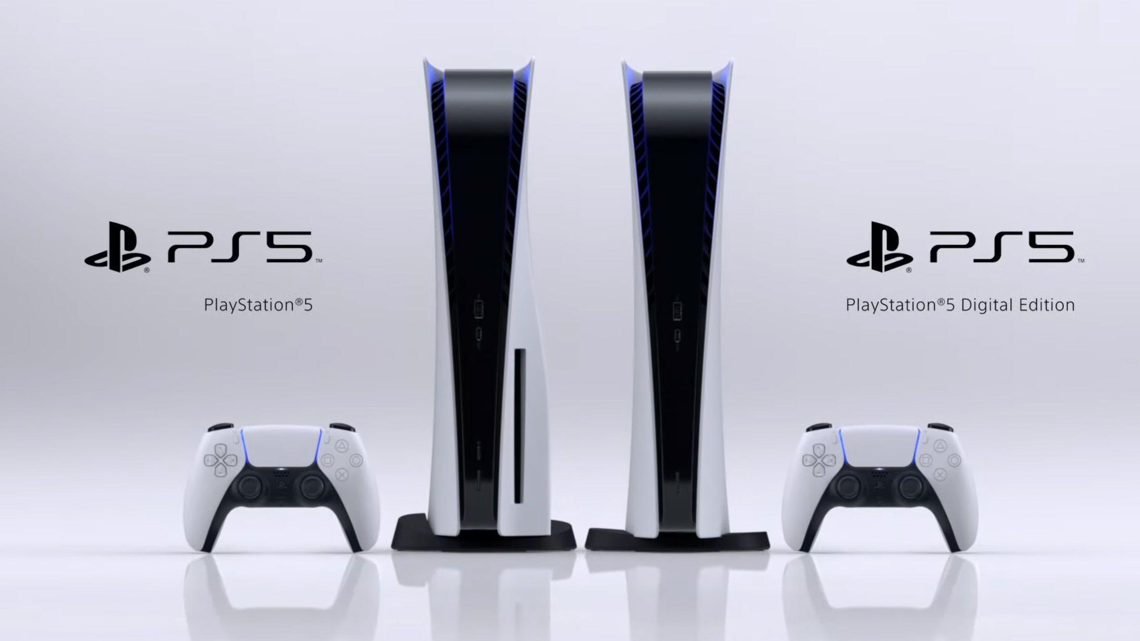 Playstation 5 i to versjoner, en med og en uten diskdrev.