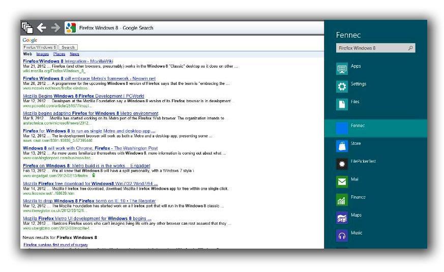 Metro-søk har allerede blitt implementert i den tidlige utgaven av Firefox til Windows 8.
